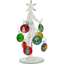 LS Arts 65 Inch Clear Glass Tree With Happy Holiday Ornaments