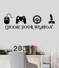 Joystick Gamer Vinyl Wall Decal Quote Video Game Play Room ESports Stickers Unique Gift Ig3216