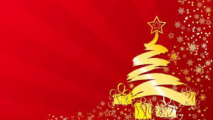Merry Christmas Yellow Tree Stars Gifts Winter Abstract Red Wallpaper Hd 3840x2400