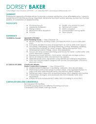 Plumber Resume Objective Examples Download Plumbing Create My