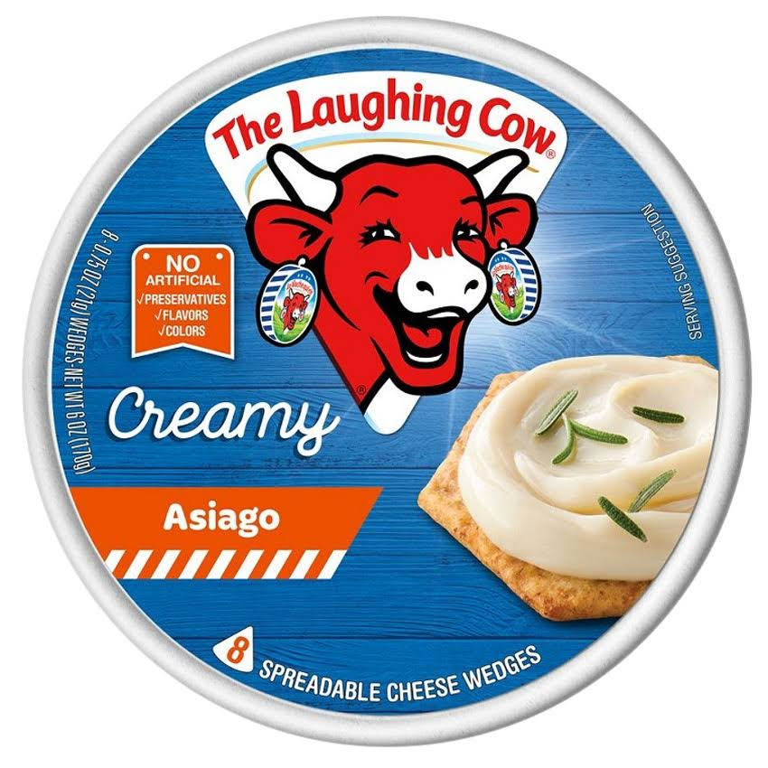 The Laughing Cow Cheese Wedges, Spreadable, Creamy Asiago - 8 cheese, 6 oz