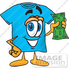 25489 Clip Art Graphic Of A Blue Short Sleeved T Shirt Character Holding Dollar