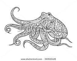 Octopus Sea Animal Coloring Book For Adults Raster Illustration Anti Stress Adult