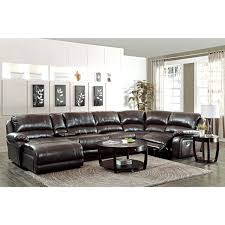 chaise pot b b coaster company brown leather reclining chaise sectional with cup