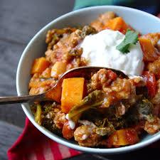 Paleo Pumpkin Chicken Chili by No Bean Sweet Potato Kale U0026 Turkey Chili Gluten Free U0026 A Vegan