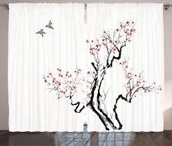 Lush Decor Velvet Curtains by Japanese Decor Curtains 2 Panels Set Asian Floral Home Decor Ebay
