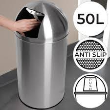 jago push mülleimer mit deckel 50l volumen edelstahl push klappe poliert rutschfest silber retro abfalleimer abfallsammler müllbehälter