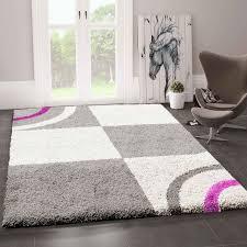 wohnzimmer teppich hochflor shaggy deko kariert streifen turkis creme grau pflegeleicht modern vimoda homestyle