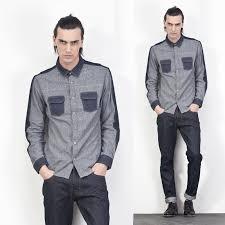 Autumn Mens Clothes Casual Denim Patchwork Shirt Fashion Designer Outerwear Korean Long Sleeve Jeans Shirts For Men
