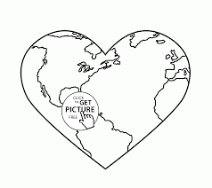 Earth Coloring Pages Heart Day Page For Kids Of Animals