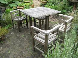 Weathered Teak Garden Set Of Table And Four Chairs Sets