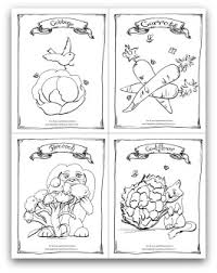 Cabbage Carrot Broccoli And Cauliflower Printable Coloring Page