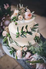 Rustic Buttercream Wedding Cake With Olive Leaf And Blush Roses Kate Drennan Photography