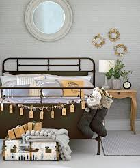 Christmas Bedroom With Iron Bed And Rustic Decorations