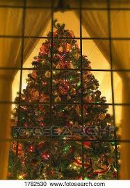 Looking At Indoor Christmas Tree Through Window