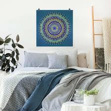 poster mandala blau gold quadrat 1 1