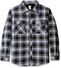 amazon com dickies men u0027s sherpa lined flannel overshirt clothing