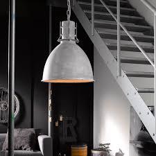 pendelleuchte im industrial design betonfarbig in glockenoptik