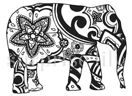 Items Similar To Elephant Floral Coloring Page Book Digital Printable For Adults And Children Zentangle Henna Designs On Etsy