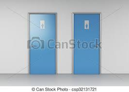 Public Toilet Doors For Male And Female Genders Clip Art