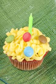 Fancy birthday cupcake decorated with small colorful sugar coated chocolate confectionery and a green candle