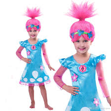 Trolls Fancy Dress Girls Trolls DressKids Girl Poppy Troll Party