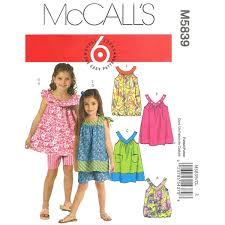 Girls Sewing Pattern Dress Top Shorts Pattern McCalls 5839 Etsy