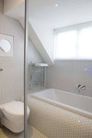 Tiling A Bathtub Deck by London Modern Small Bathroom With Hexagonal White Mosaic Tiles