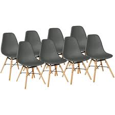 8 set stühle esszimmerstühle stuhl sessel retro dunkelgrau kingpower