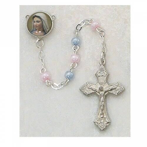Pink and Blue Rosary, 3mm