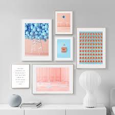 blau ballon tür rosa wand malen zitate nordic poster und drucke wand kunst leinwand malerei wand bilder für wohnzimmer decor