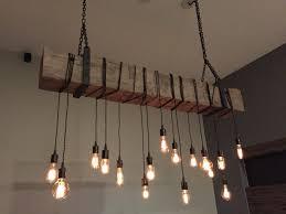 Barn Beam Chandelier Light Fixture With Wrapped Lights Metal Hanging Brackets Edison Bulbs