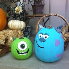 Monsters Inc Mike Wazowski Pumpkin Carving by Fake Pumpkins Painted Mike And Sully From Monsters Inc