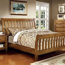 Conrad Country Style Rustic Oak Queen Size Bed