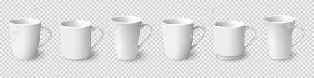 Set Of Realistic White Coffee Mugs Isolated On Transparent Background Vector Templates For Mock Up