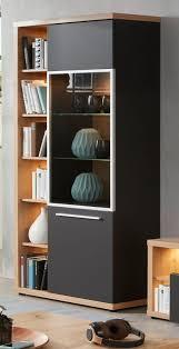 vitrine odino in grau matt und asteiche eiche vitrinenschrank 84 x 196 cm inkl led beleuchtung