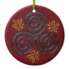 Turquoise Triple Spiral With Holly Leaves On Red Double Sided Ceramic Round Christmas Ornament