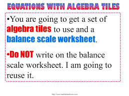 Algebra Tiles Worksheet One Step Equations by Variables On Both Sides Ppt Video Online Download