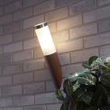 4x 1 light outdoor wall light wood effect stainless steel
