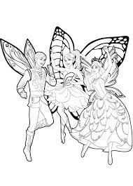 Butterfly Fairy Coloring Pages Barbie Mariposa And Her Friends