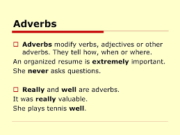 BUSINESS ENGLISH. - Ppt Download 28 Adverb Of Manner Worksheets Grammar Worksheets Gt Good Action Verbs Colonarsd7org Resumeletter Writing Verb For Rumes Pdf The Problems Of Adverbs In Zulu Chapter 8 Writing Basics What Makes A Good Stence 44 Adverbs To Powerup Your Resume Tips Semicolons And Conjunctive Lesson Practice Games Anglais 2 Rsum Hesso Studocu Kinds Discourse Clausal Syntax Old Middle