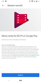 Latest Google One Promo Is A $.99 Play Store Movie Rental - 9to5Google Latest Update July 2019 Hotelscom Discount Coupon Code Hotel Aliexpress Cashback Promo 5 Deals August Nigeria Showpo Discount Codes Findercom Wing On Travel Easyrentcars Off June Promo Coupon Makemytrip Coupons Offers Aug 1920 Min Rs1000 Off Codes Goibo Up To Rs3500 Spirit Airlines Flight Sales Skyscanner Free 20 Gift Card For Accommodation Upto Rs800 Off On Mmt