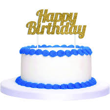 Artwrap Happy Birthday Glitter Cake Topper Gold BIG W