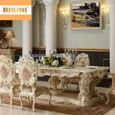 Bisini Luxury Italian Baroque Style Palace Hand Carved Long Dining Table With 10 Chairs
