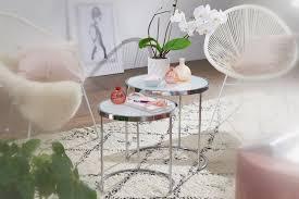 finebuy design beistelltisch rund ø 50 42 cm 2 teilig weiß silber mit glasplatte wohnzimmertisch 2er set satztisch milchglas couchtisch