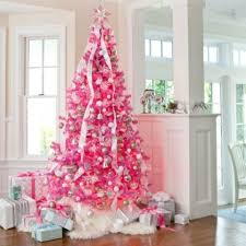 Hot Pink Christmas Tree With Silver Ornaments And White Garlands