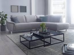 wohnling design couchtisch 2er set schwarz marmor optik eckig couchtische 2 teilig tischgestell metall edle wohnzimmertische moderne satztische