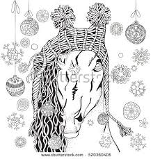 Coloring Book Page For Adult And Children Funny Horse With Winter Knitted Cap Christmas