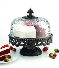 Artimino Venetian Attractive Cake Stand With Hammered Glass Dome