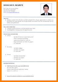 Formal Cv Formatcv Resume Malaysia Format Example R3